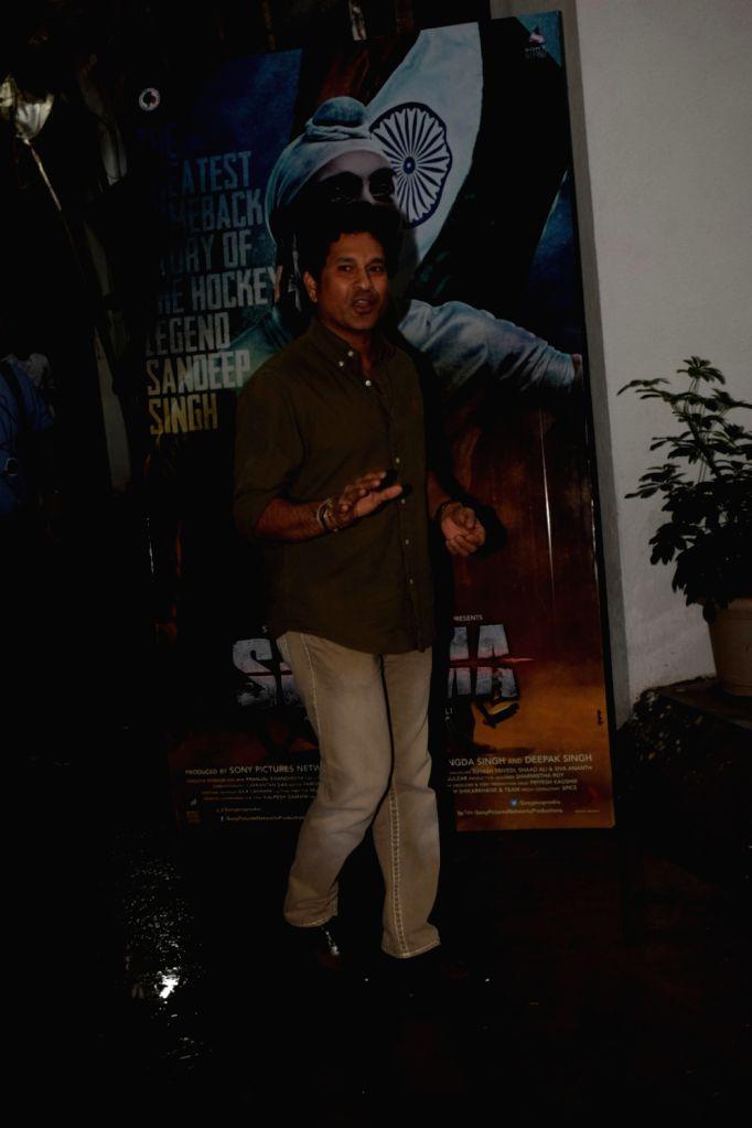 "Cricket legend Sachin Tendulkar at the special screening of film ""Soorma"" in Mumbai on July 11, 2018. - Sachin Tendulkar"