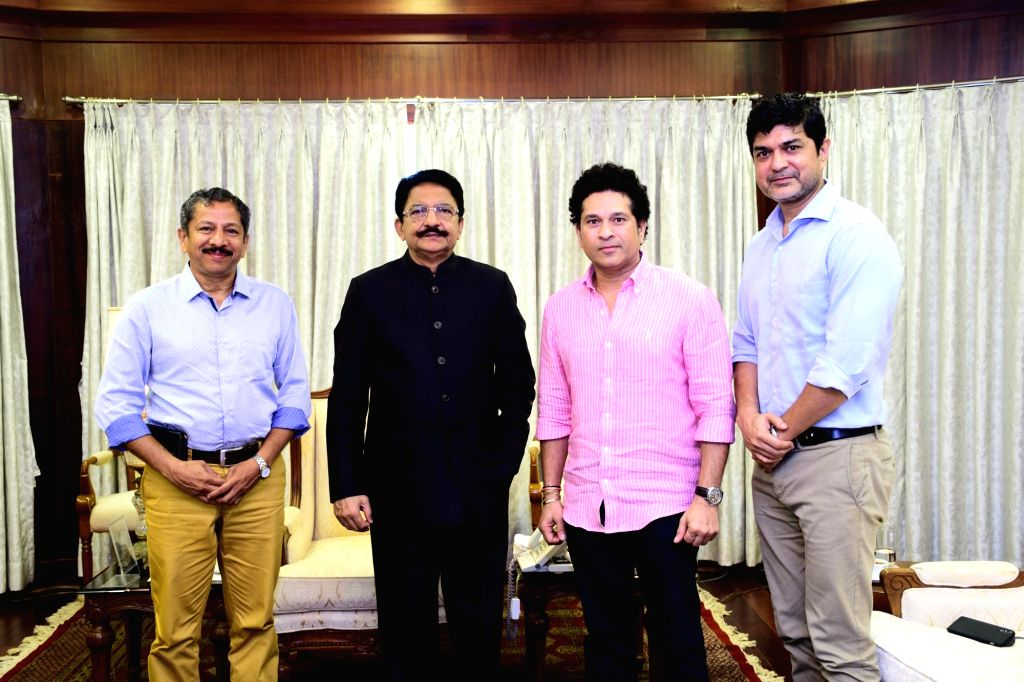 Cricket legend Sachin Tendulkar calls on Maharashtra Governor C. Vidyasagar Rao, at Raj Bhavan in Mumbai on May 29, 2018. Also seen sports journalist Sunandan Lele and SRT Sports Director and ... - Sachin Tendulkar, C. Vidyasagar Rao and Mrinmoy Mukherjee