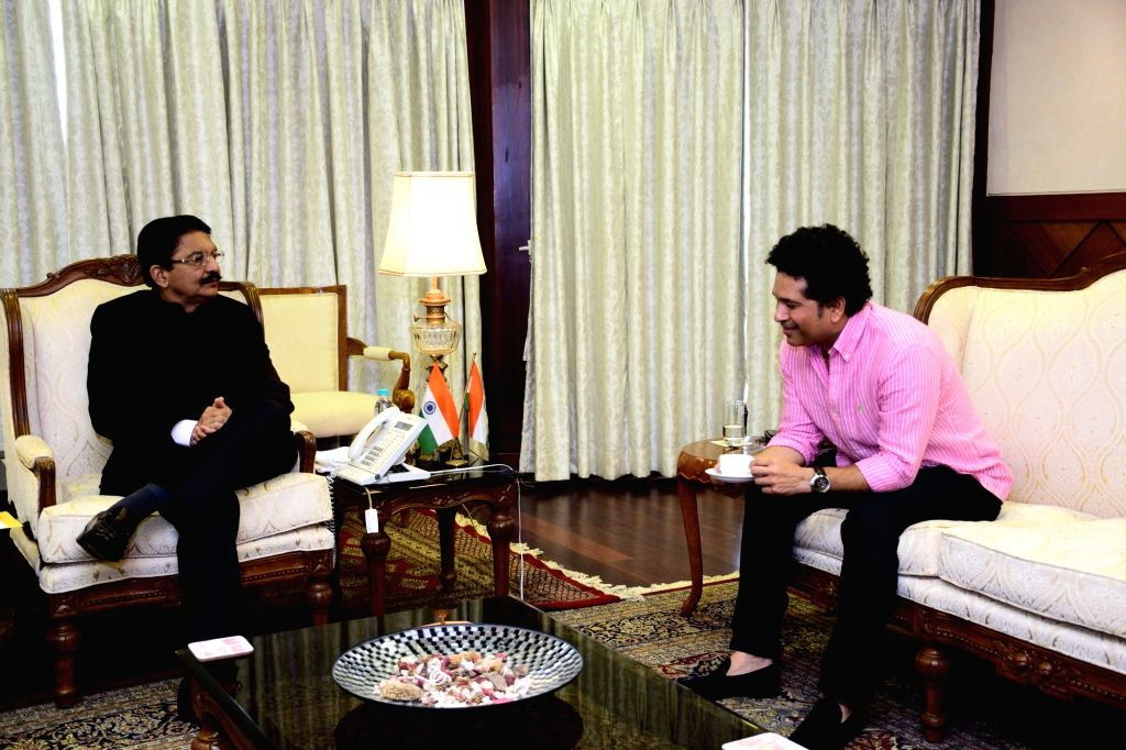 Cricket legend Sachin Tendulkar calls on Maharashtra Governor C. Vidyasagar Rao, at Raj Bhavan in Mumbai on May 29, 2018. - Sachin Tendulkar and C. Vidyasagar Rao