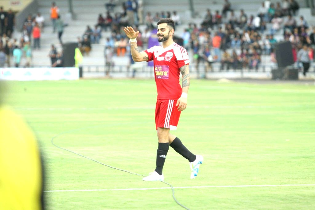 Cricket player Virat Kohli during a celebrity football match between All Heart Football Club and All Stars Football Club, in Mumbai, on June 4, 2016. The model-turned actress converted ... - Virat Kohli