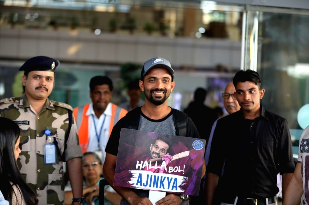 Cricketer Ajinkya Rahane arrives at Jaipur International Airport, on March 15, 2019.