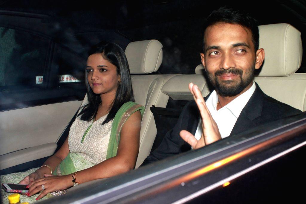 Cricketer Ajinkya Rahane arrives to attend the wedding reception of cricketer Harbhajan Singh and actress Geeta Basra in New Delhi, on Nov 1, 2015.