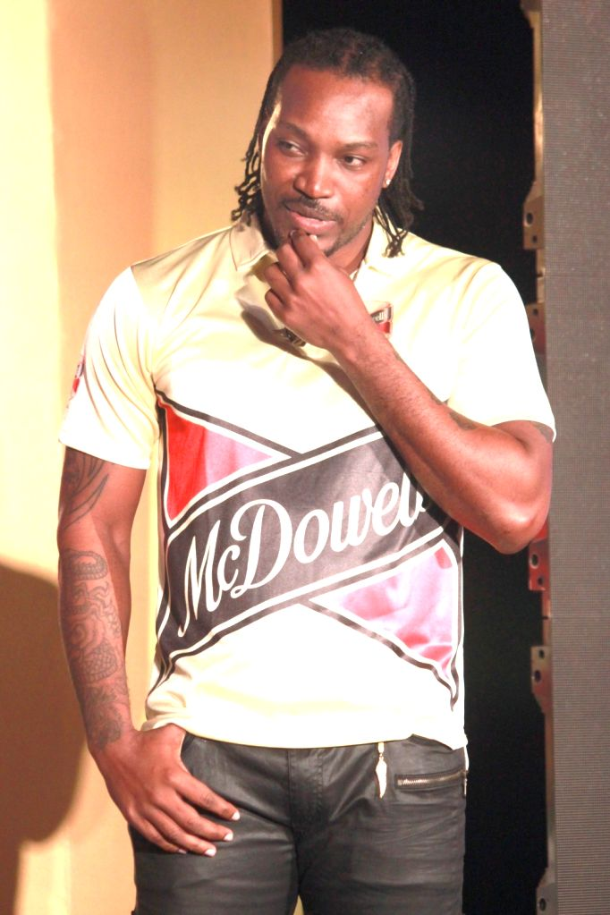 Cricketer Chris Gayle during a promotional programme in New Delhi, on Nov 2, 2015.