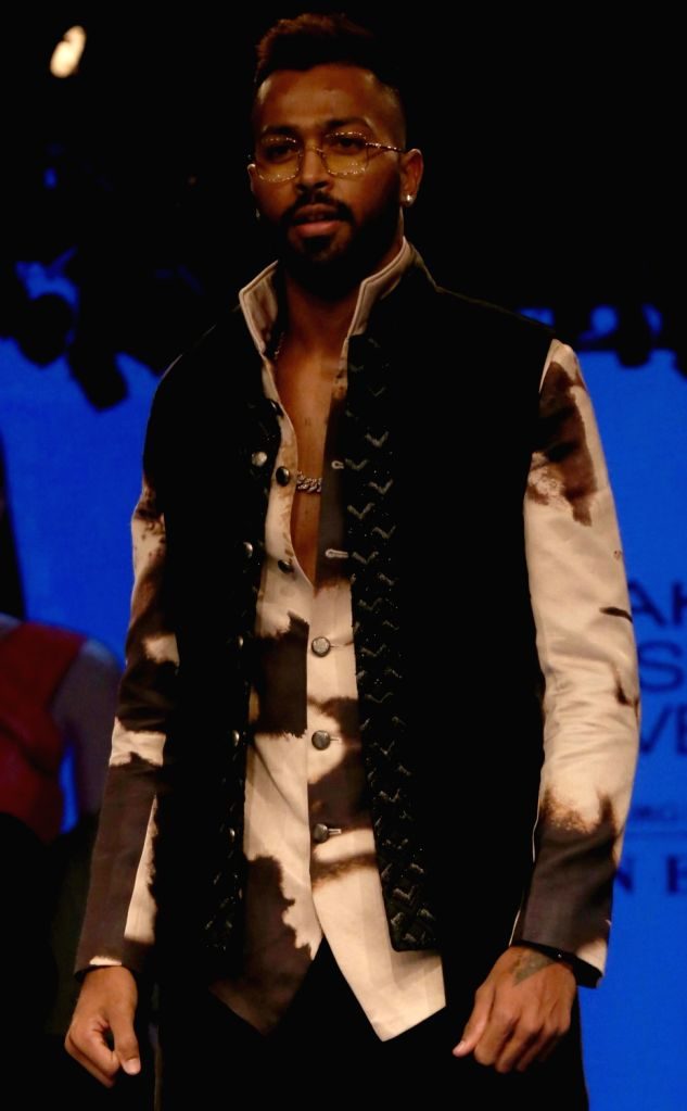 Cricketer Hardik Pandya at the Lakme Fashion Week Winter/Festive 2019 in Mumbai on Aug 24, 2019.