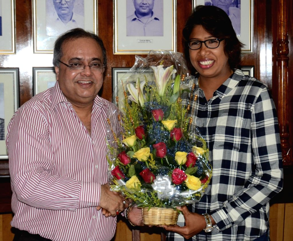 Cricketer Jhulan Goswami who became leading wicket-taker in Women's ODIs, breaking Australia's Cathryn Fitzpatrick's record of 180 wickets being felicitated by CAB in Kolkata, on June 2, ... - Jhulan Goswami