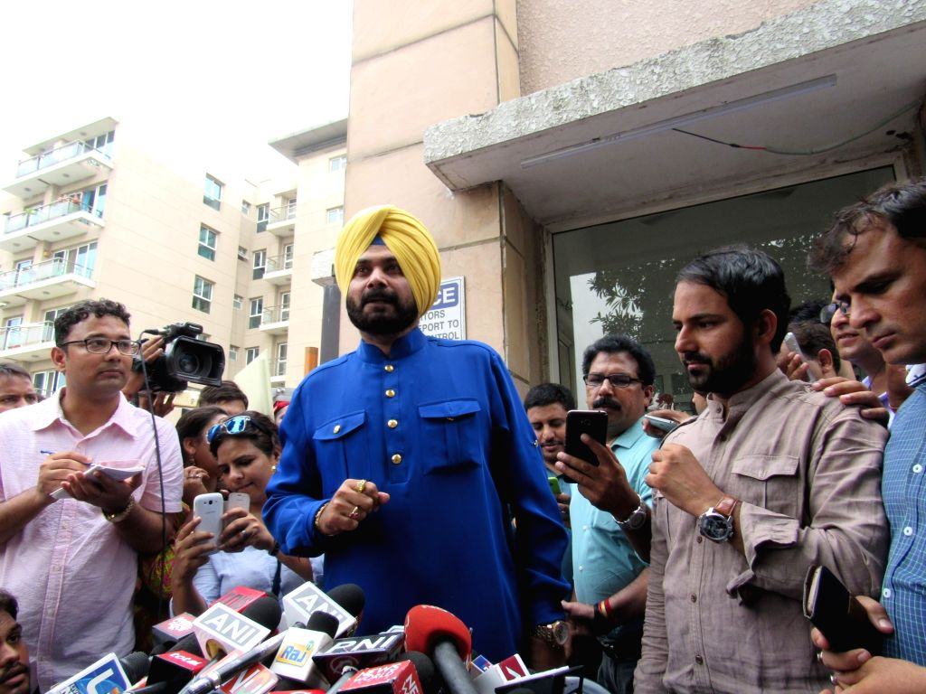Cricketer-turned-BJP politician Navjot Singh Sidhu during a press conference in New Delhi on July 25, 2016. - Navjot Singh Sidhu