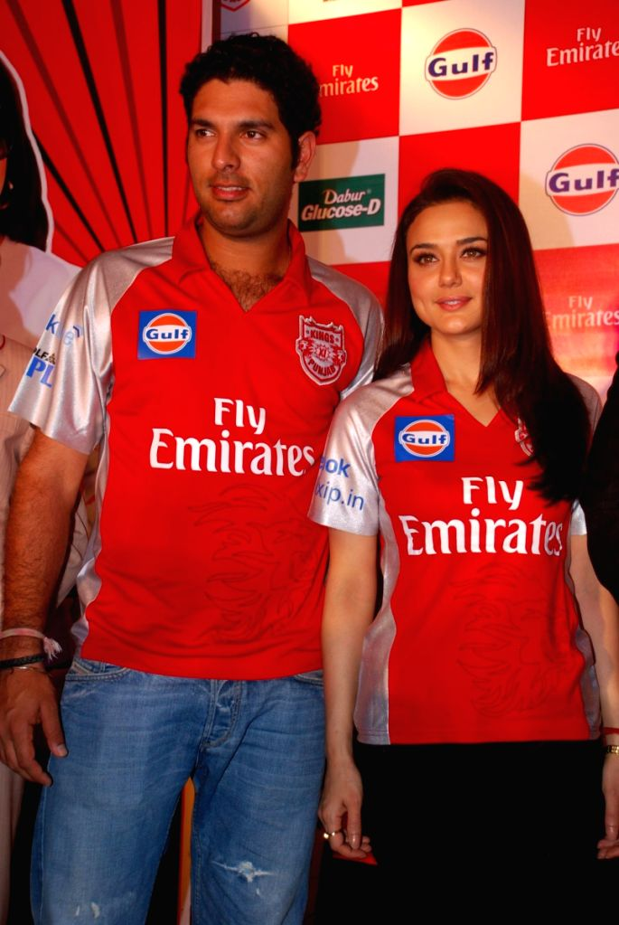 Cricketer Yuvraj Singh and Preity Zinta at IPL press meet. - Preity Zinta