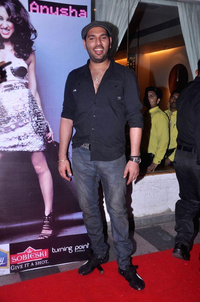 Cricketer Yuvraj Singh during Anusha Dandekar`s  album launch `Better Then Your EX` in Tryst, Mumbai. - Yuvraj Singh