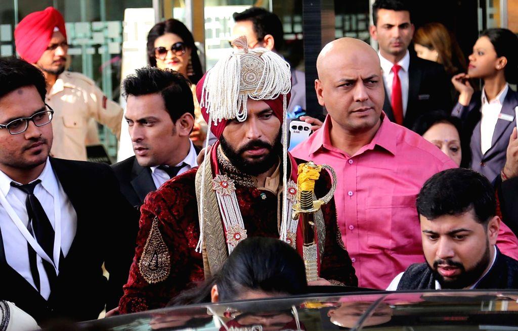 Cricketer Yuvraj Singh leaves for Fatehgarh Sahib for his wedding ceremony from The Lalit Hotel inPanchkula on Nov 30, 2016. - Yuvraj Singh