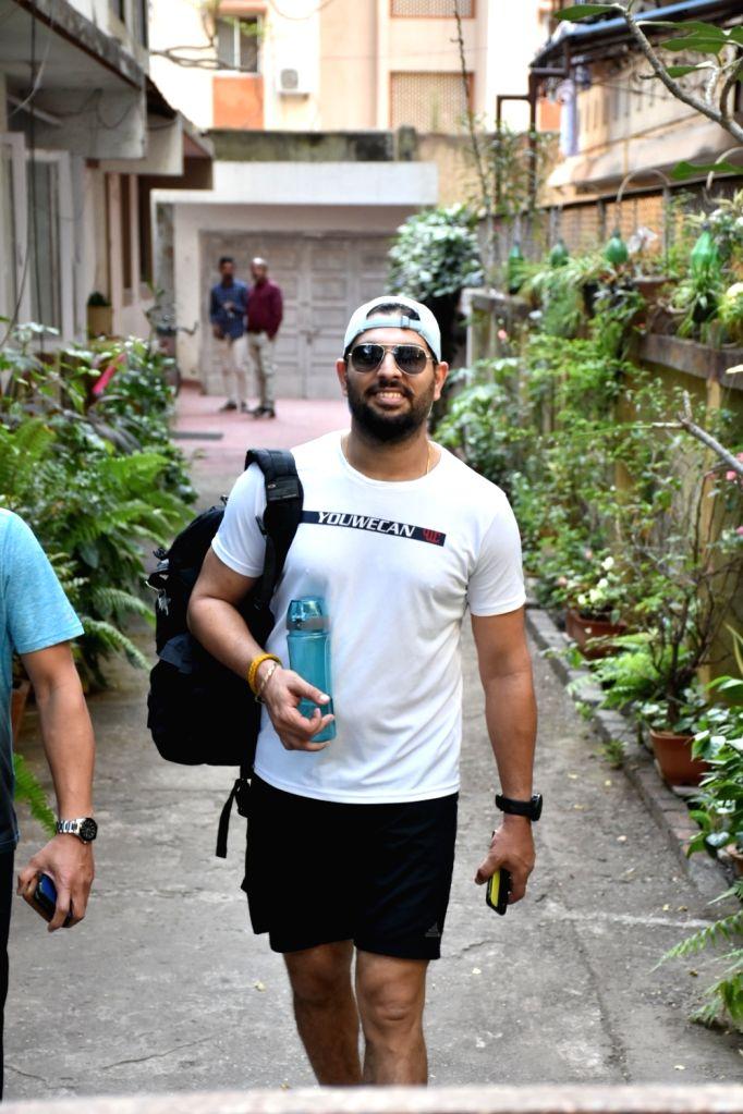 Cricketer Yuvraj Singh seen at a gym in Mumbai's Bandra on Feb 7, 2019. - Yuvraj Singh