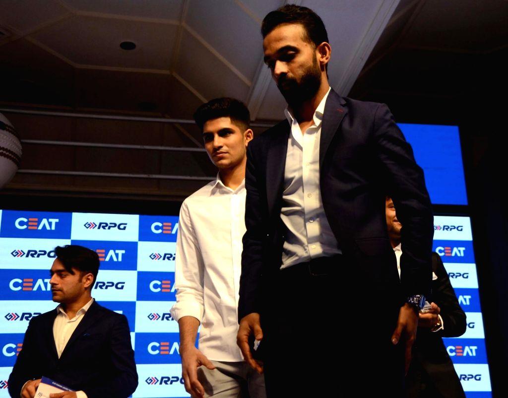Cricketers Shubman Gill and Ajinkya Rahane during Ceat cricket rating award 2017-18, in Mumbai on May 28, 2018.