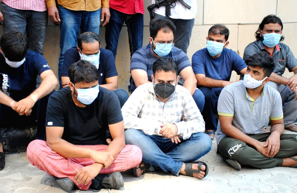Crime Branch arrest 10 persons black - marketing of fake 'Injections' used as Life- Saving drugs in covid and black fungus treatment at PHQ in New Delhi on Sunday June 20, 2021.
