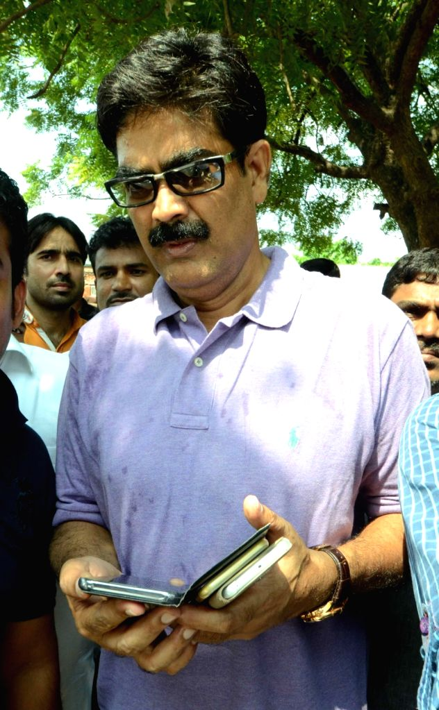Criminal-turned-politician Mohammad Shahabuddin with his supporters in Siwan district of Bihar on Sept 19, 2016.