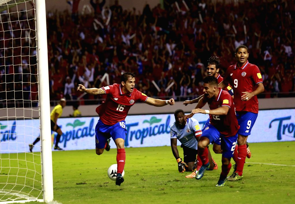Cristian Gamboa (1st, L) of Costa Rica celebrates his goal against Haiti during a qualifying match to 2018 Russia World Cup between Costa Rica and Haiti held at ...