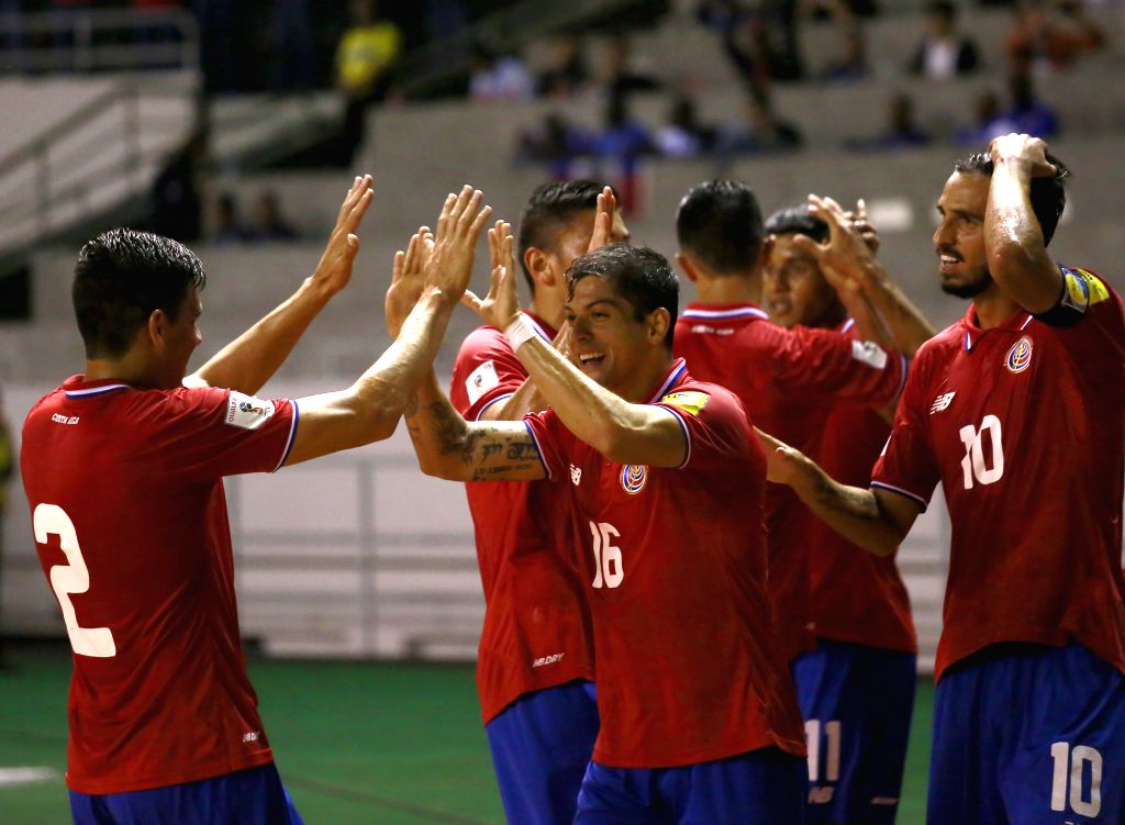 Cristian Gamboa (Front, C) of Costa Rica celebrates his goal with teammates during a qualifying match to 2018 Russia World Cup between Costa Rica and Haiti held at ...