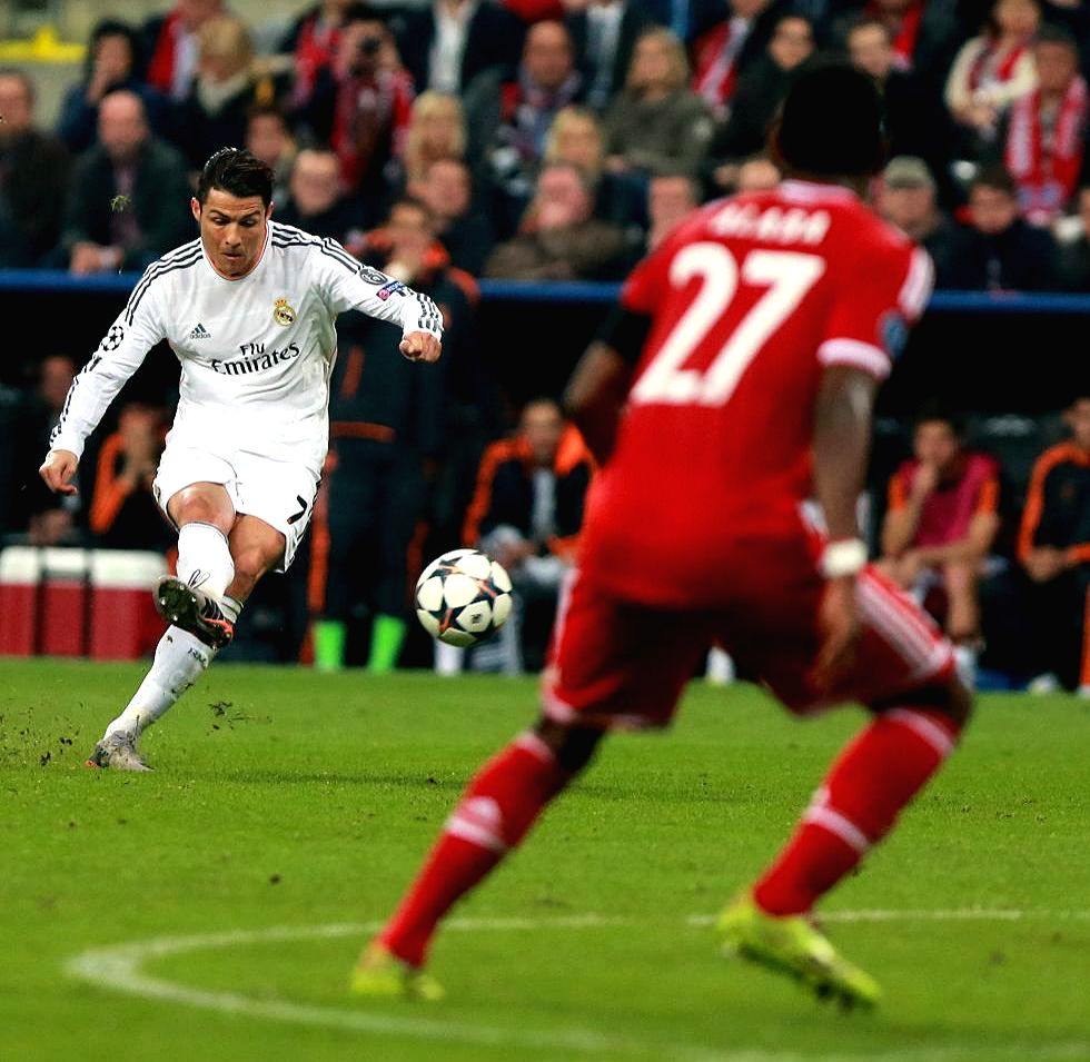 Cristiano Ronaldo of Real Madrid in action during the UEFA Champions League Semi Final second leg match between FC Bayern Muenchen and Real Madrid at Allianz Arena in Madrid, Spain on April 29, 2014.