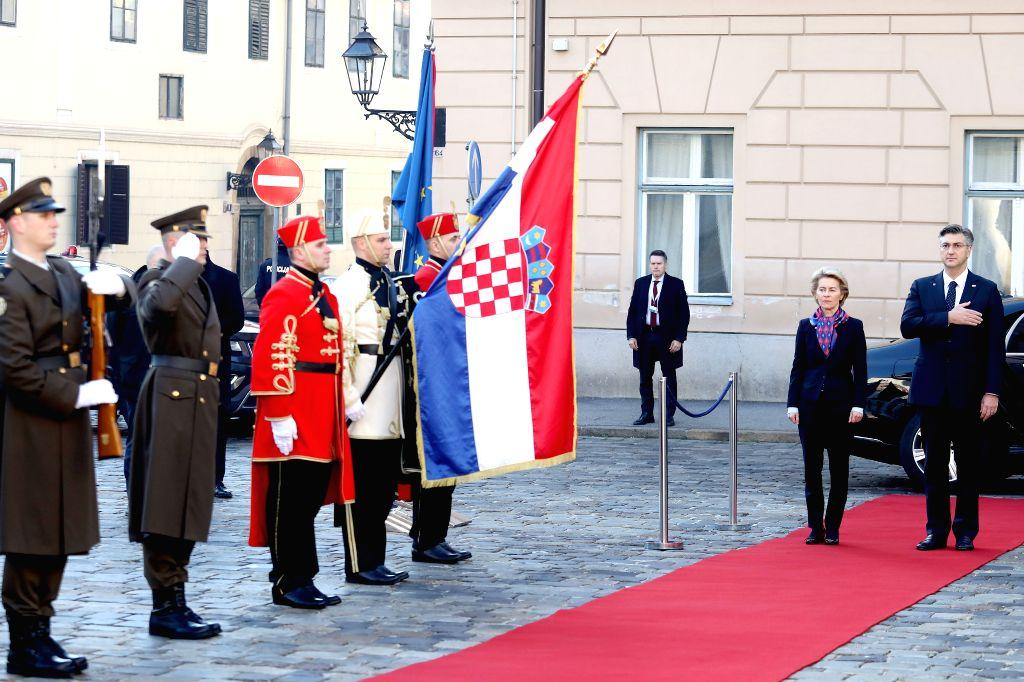Croatian Prime Minister Andrej Plenkovic (1st R) and European Commission President Ursula von der Leyen (2nd R) inspect the Guards of Honor in Zagreb, Croatia, on ... - Andrej Plenkovic