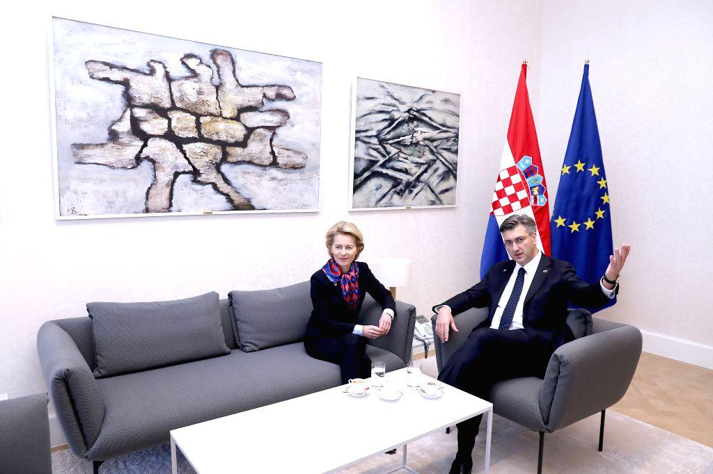 Croatian Prime Minister Andrej Plenkovic (R) meets with European Commission President Ursula von der Leyen in Zagreb, Croatia, on Jan. 10, 2020. - Andrej Plenkovic