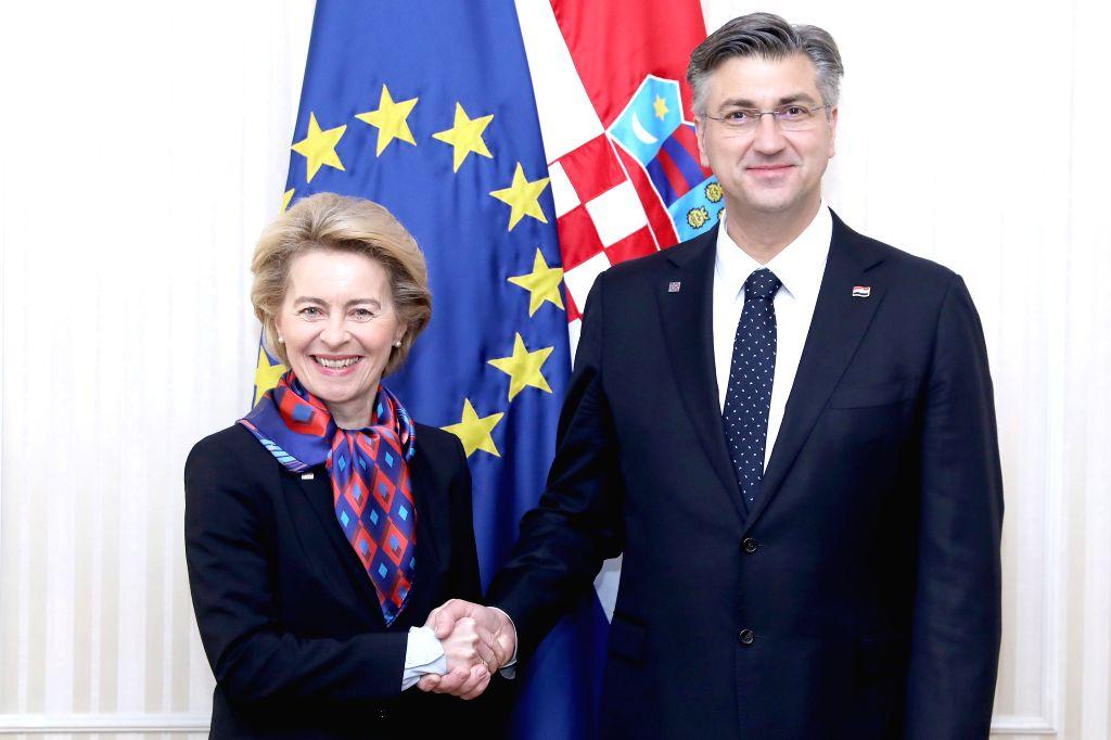 Croatian Prime Minister Andrej Plenkovic (R) shakes hands with European Commission President Ursula von der Leyen in Zagreb, Croatia, on Jan. 10, 2020. - Andrej Plenkovic