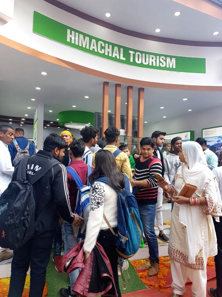 Crowd gathers in Himachal Tourism stall at the ongoing 34th International Surajkund Crafts Mela in Faridabad, Haryana on Feb 8, 2020.
