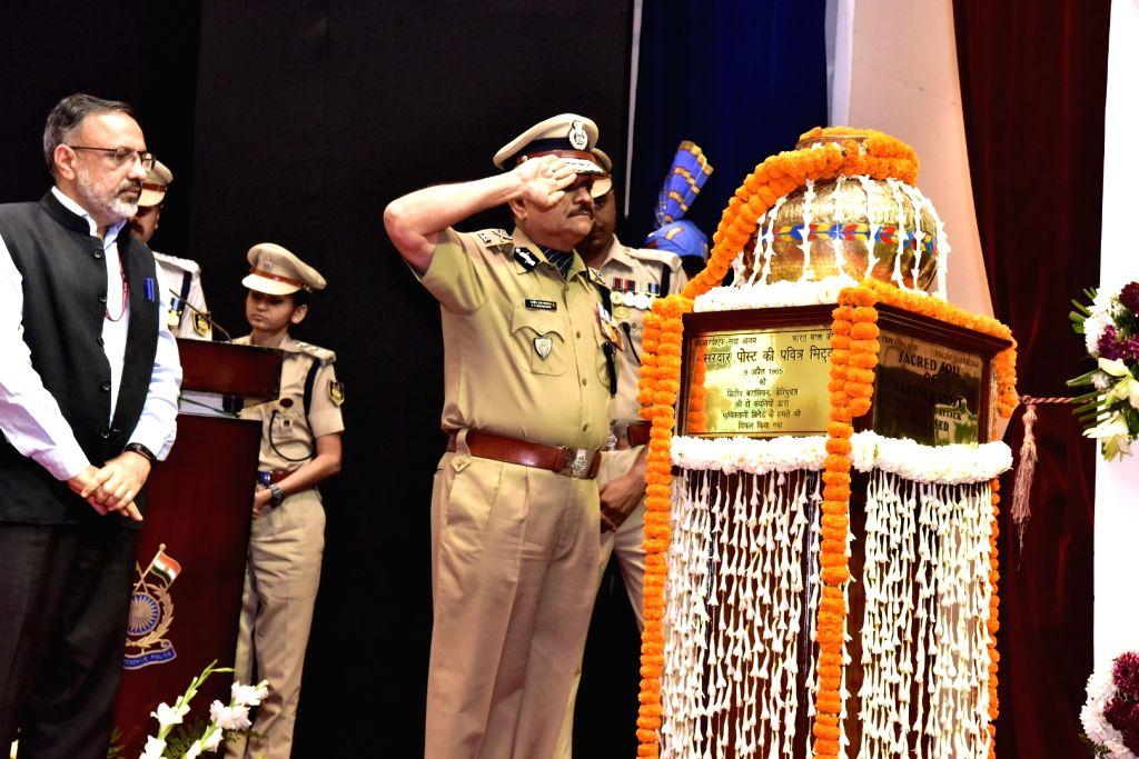 CRPF DG Rajeev Rai Bhatnagar pays homage to the martyrs during a programme organised on the annual 'Valour Day' of the CRPF, in New Delhi on April 9, 2019. - Rajeev Rai Bhatnagar