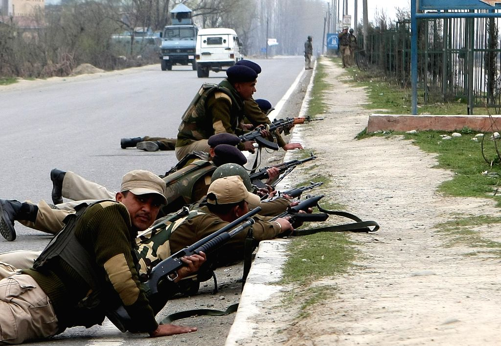 CRPF jawans during an encounter with terrorists in Srinagar .Five CRPF troopers and two terrorists were killed here Wednesday when the guerrillas attacked a paramilitary picket in the first terror attack in the Kashmir Valley in three years. (Photo: