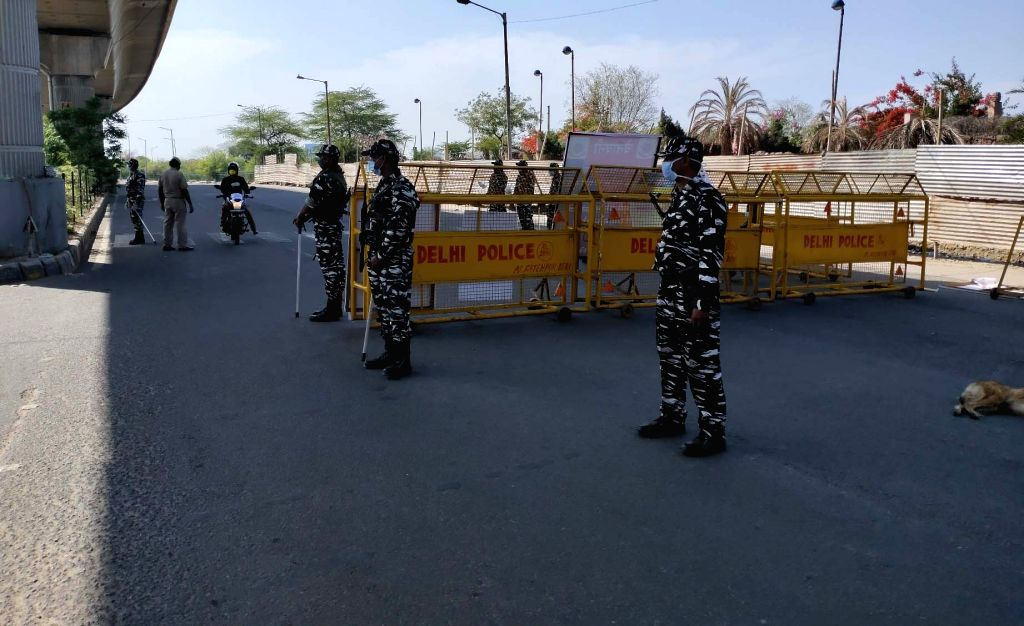CRPF personnel deployed at the Aya Nagar Border on Day 6 of the 21-day nationwide lockdown imposed to contain the spread of coronavirus, in New Delhi on March 30, 2020.