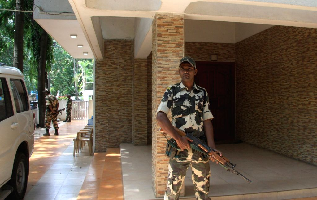 CRPF personnel patrolling the residence of Karnataka Energy Minister DK Shivakumar during the Income Tax department raids in Bengaluru on Aug 2, 2017. - D