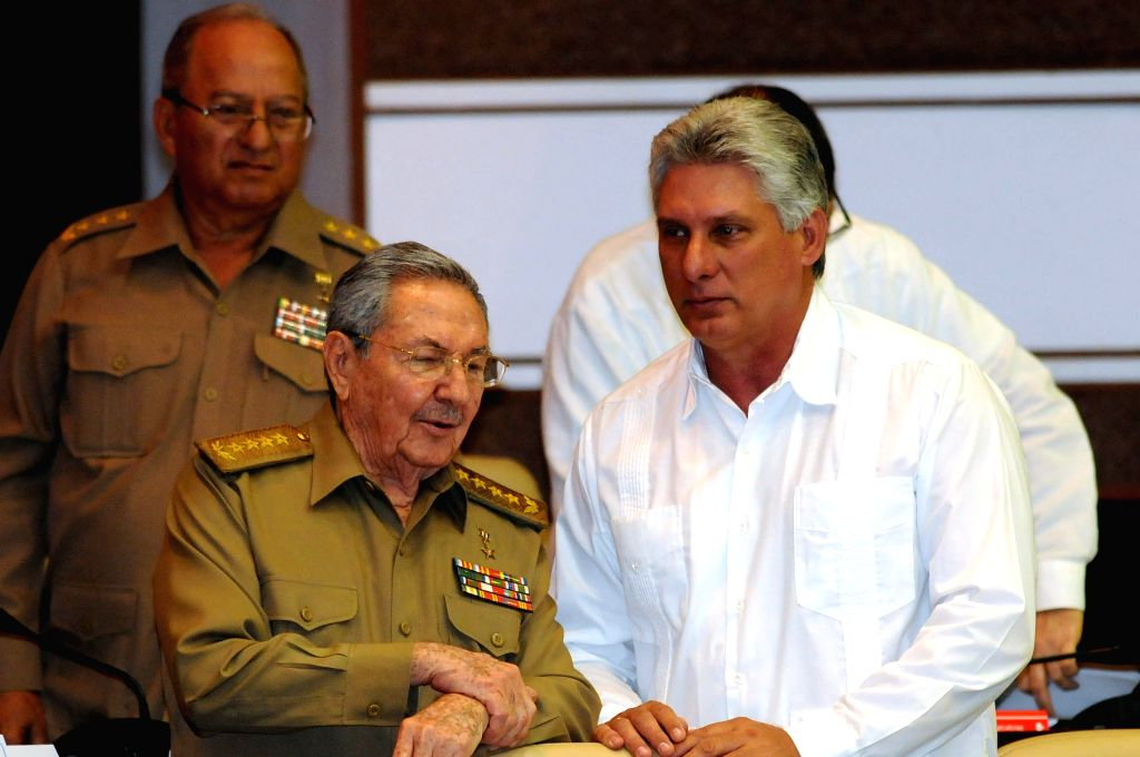 Cuban President Raul Castro (L-Front), and Cuba's first Vice President Miguel Diaz-Canel (R) attend the plenary session of the Fifth Ordinary Session of the Eighth ...