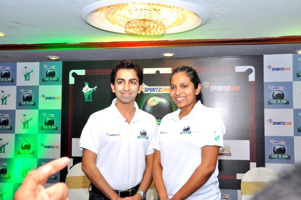 Cueist Pankaj Advani and 2013 World Women's Snooker Champion Vidya Pillai at the launch of The Cue SlamIndian Cue Masters League in Hyderabad on July 25, 2017. - Cueist Pankaj Advani