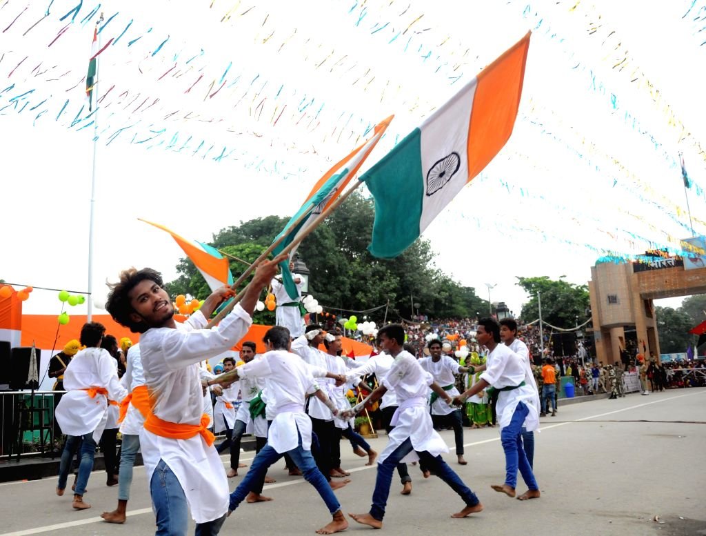 Cultural activity programme during the Retreat ceremony at Attari on the occasion of 69th Independence Day celebration, on August 15, 2015.