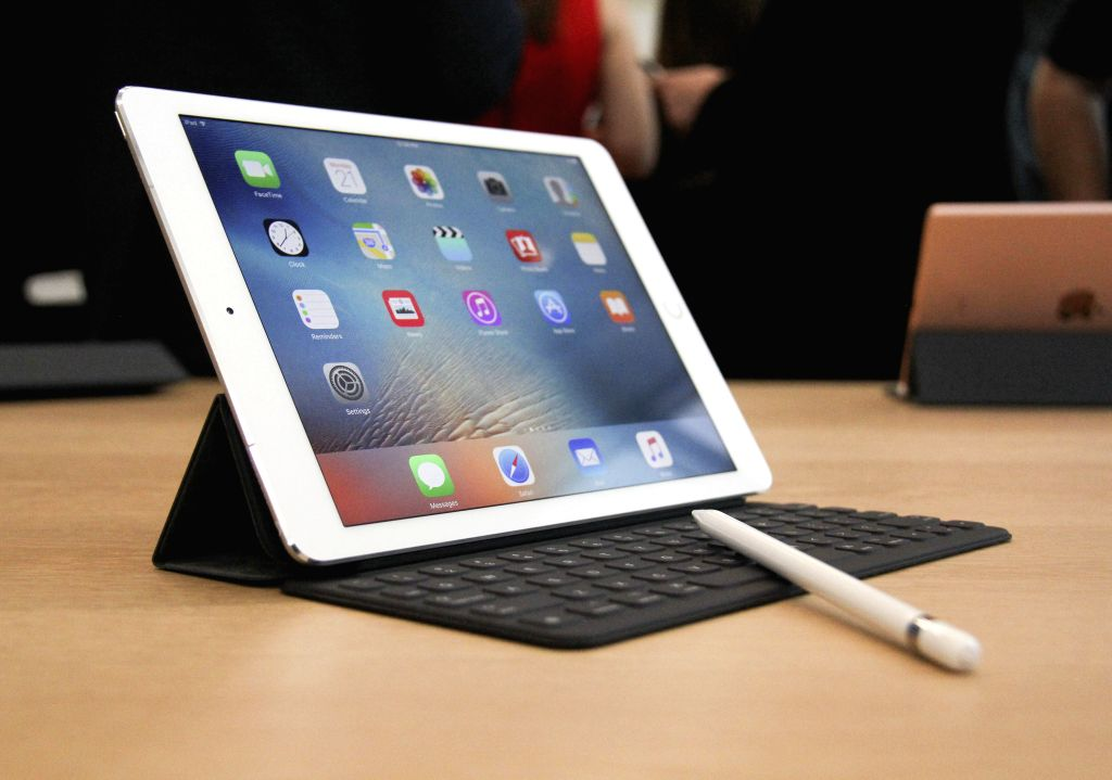 CUPERTINO, March 22, 2016 - A new iPad Pro is on display during an event to announce new products at Apple's headquarters in Cupertino, California, the United States, March 21, 2016. Apple Inc. on ...
