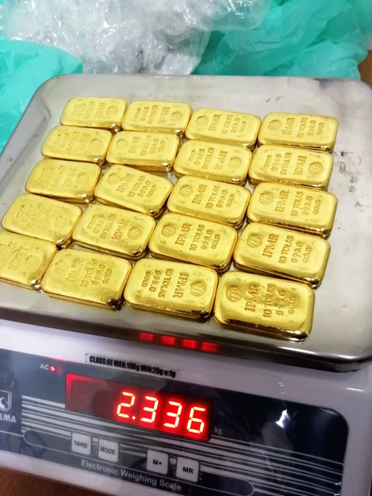 Customs Air Intelligence Unit team seized 2.336 kilograms of gold during rummaging. AIU has also seized 3.5 kilograms of saffron from checked in baggage of another carrier after it was ...