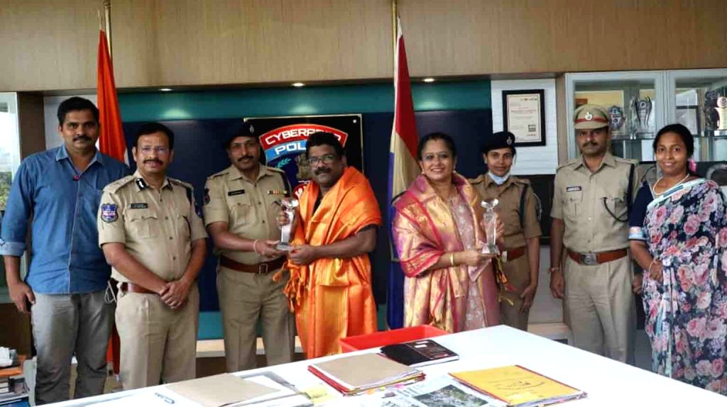 Cyberabad Police Commissioner VC Sajjanar launches a COVID-19 awareness song at his office in Hyderabad during the extended nationwide lockdown imposed to mitigate the spread of ...