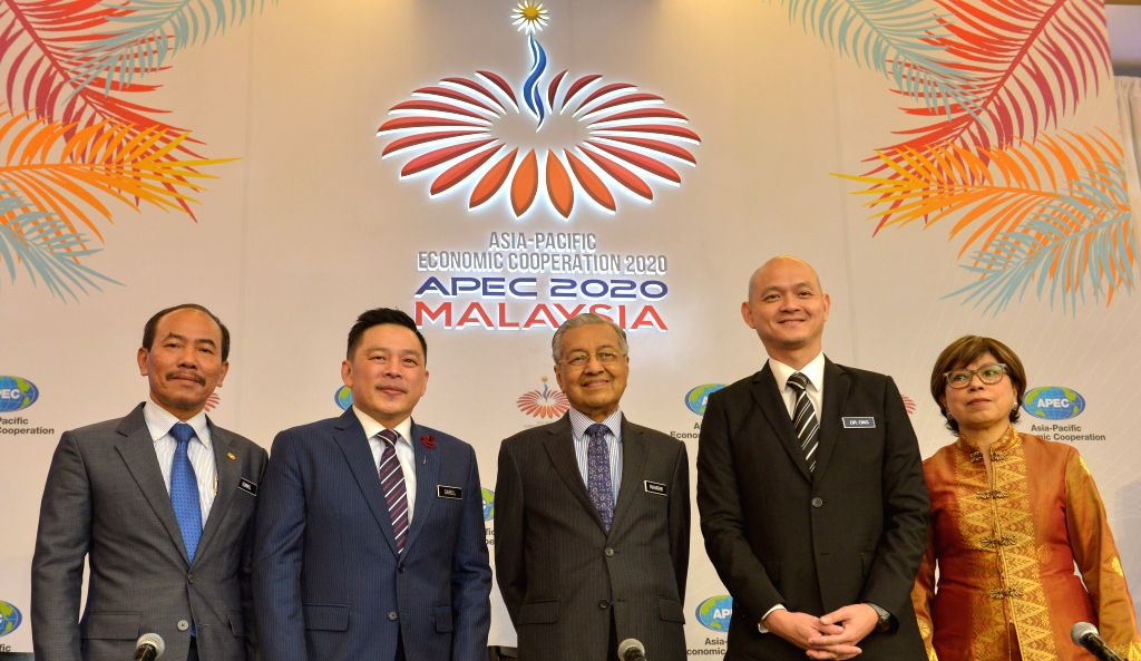 CYBERJAYA, Dec. 4, 2019 - Malaysian Prime Minister Mahathir Mohamad (C) attends the press conference held after the launching ceremony of Malaysia's chairmanship of APEC in 2020 in Cyberjaya, ... - Mahathir Mohamad