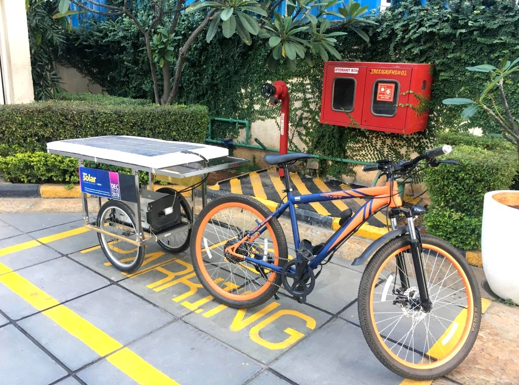 Cyclist Sushil Reddy's solar cycle in Bengaluru on Nov 29, 2018. - Sushil Reddy