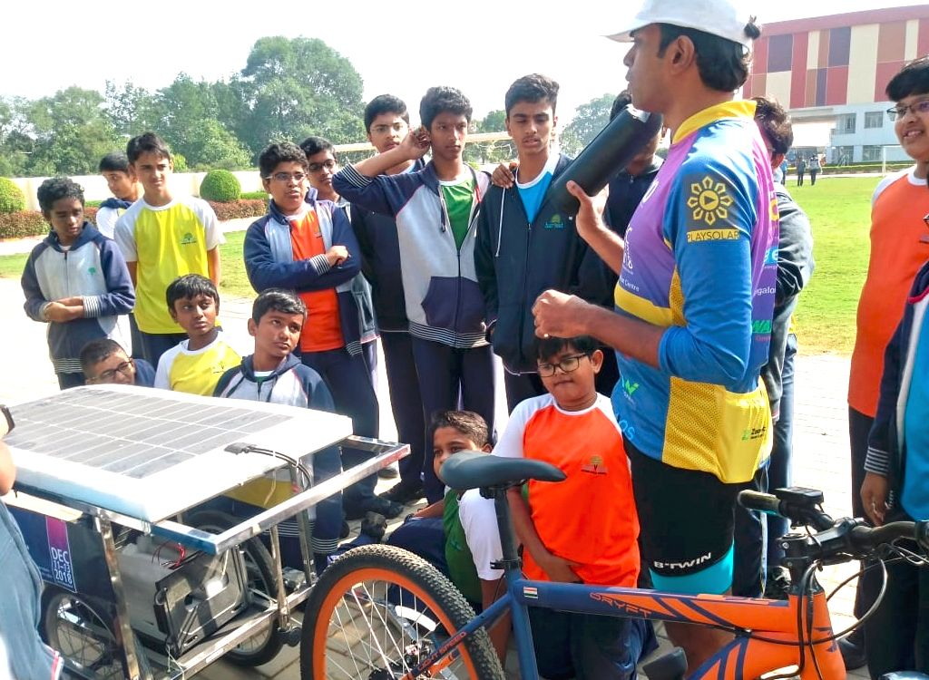 Cyclist Sushil Reddy with his solar cycle in Bengaluru on Nov 29, 2018. - Sushil Reddy