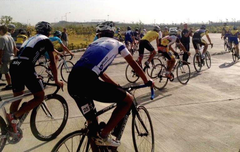 Cyclists from the elite class practicing for the international cycling event `Tour de India`at Buddh International Circuit in Greater Noida. (Photo: IANS)