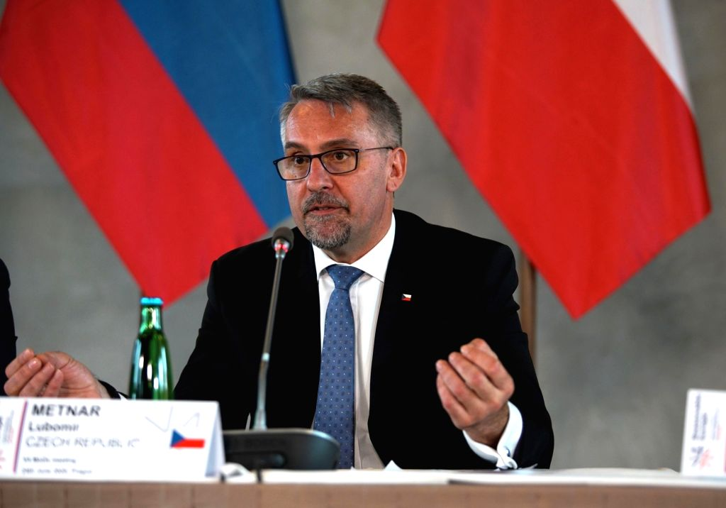 Czech Defense Minister Lubomir Metnar speaks during a press conference in Prague, the Czech Republic, on June 24, 2020. Defense ministers of Hungary, the Czech ... - Lubomir Metnar