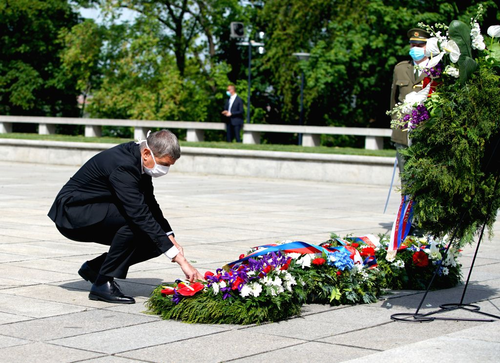 Czech Prime Minister Andrej Babis lays a wreath at the Tomb of the Unknown Soldier to mark the 75th anniversary of the end of World War II in Europe in Prague, the ... - Andrej Babis