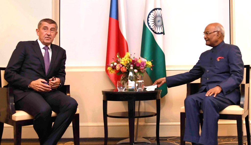 Czech Republic Prime Minister Andrej Babis meets President Ram Nath Kovind, in Prague on Sept 7, 2018. - Andrej Babis and Nath Kovind