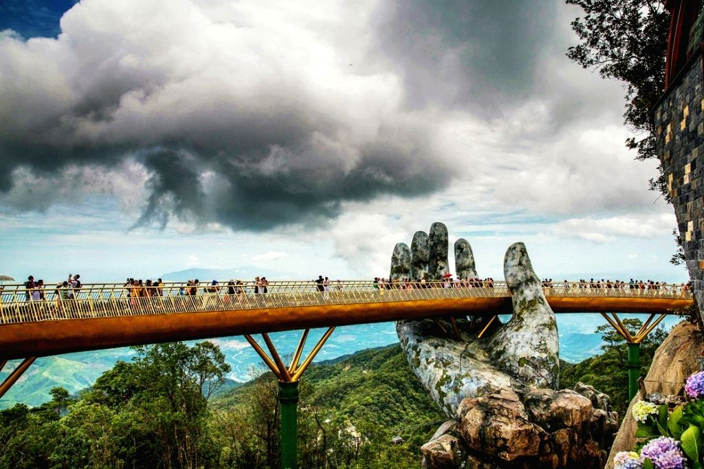 Golden Bridge in Ba Na Hills in Da Nang, Vietnam.