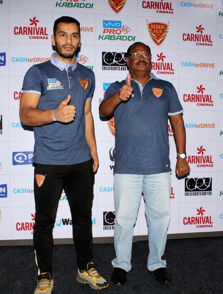 Dabang Delhi Kabaddi club chief coach Ramesh Bhendigiri and the team's Captain Meraj Sheykh during a press conference on Vivo Pro Kobaddi seasion 5 in New Delhi on Sept 21, 2017. - Meraj Sheykh