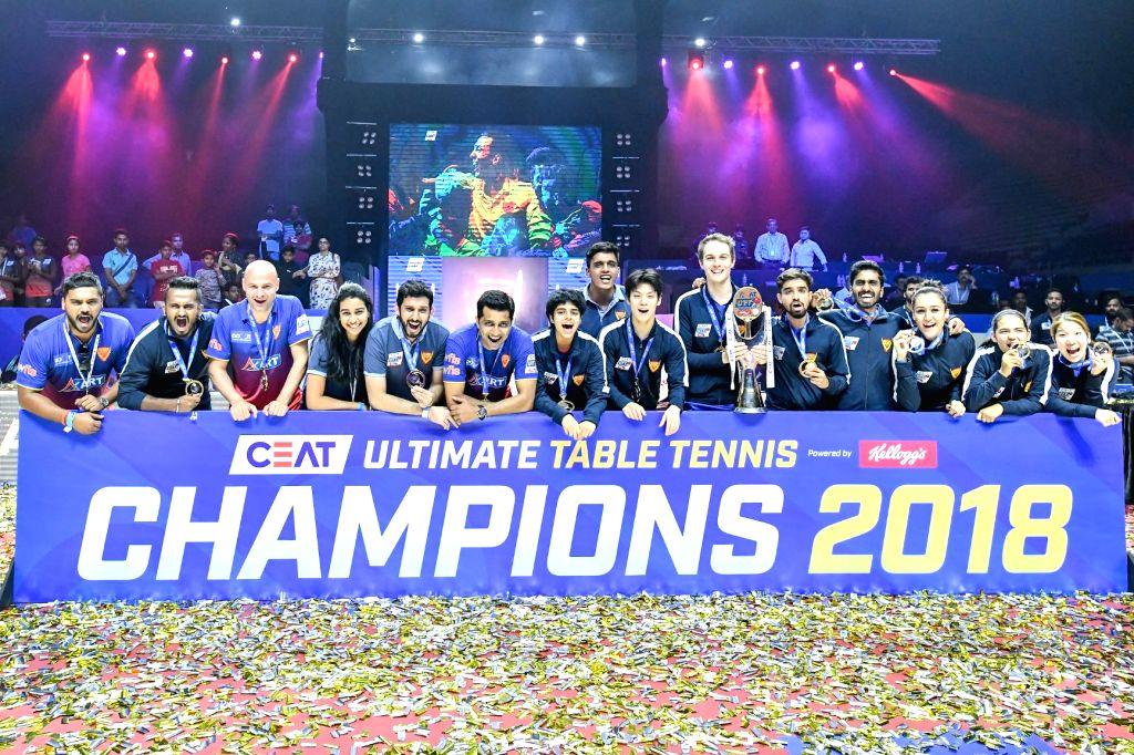 Dabang Smashers celebrate after winning the Ultimate Table Tennis 2018 Season 2.