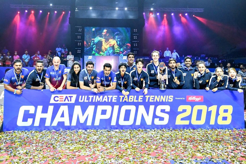 Dabang Smashers celebrate after winning the Ultimate Table Tennis 2018 Season 2.
