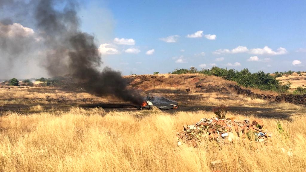 Dabolim: The site where an MiG-29K trainer aircraft of the Indian Navy crashed after it suffered an engine fire, at a short distance from the Dabolim international airport in Goa on Nov 16, 2019. (Photo: IANS)