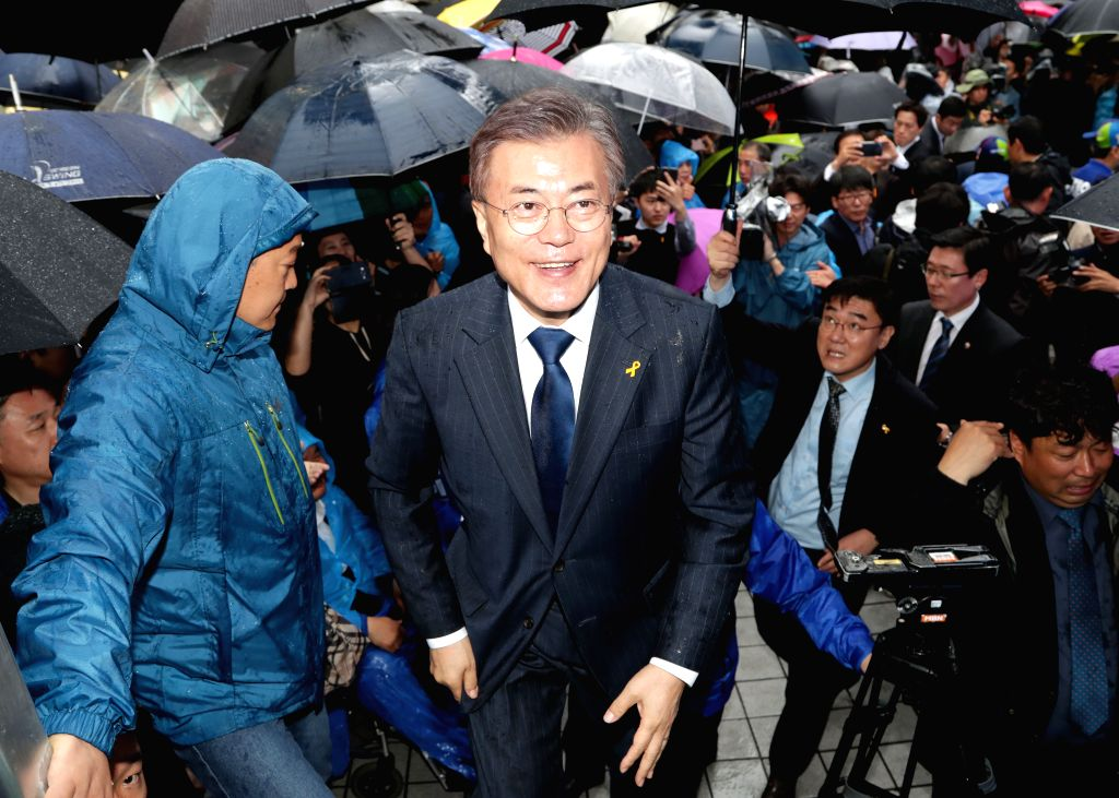 DAEJEON, April 17, 2017 - Moon Jae-in (C), presidential candidate of the biggest Minjoo Party, attends a campaign in Daejeon, South Korea on April 17, 2017. Candidates kicked off official campaign on ...