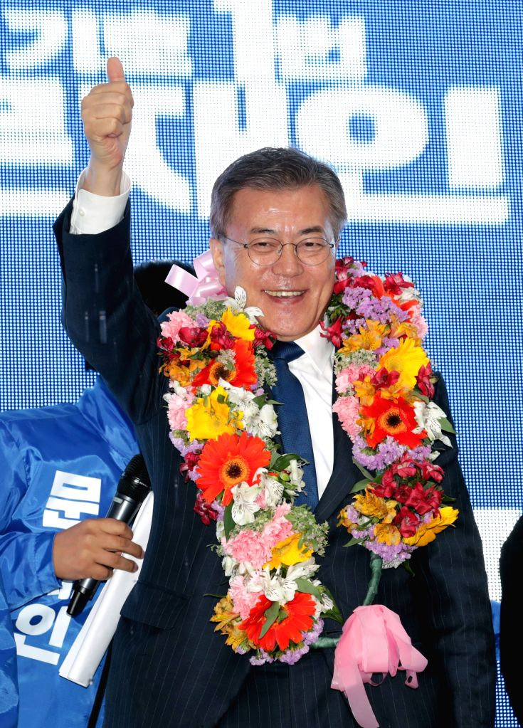 DAEJEON, April 17, 2017 - Moon Jae-in, presidential candidate of the biggest Minjoo Party, attends a campaign in Daejeon, South Korea on April 17, 2017. Candidates kicked off official campaign on ...