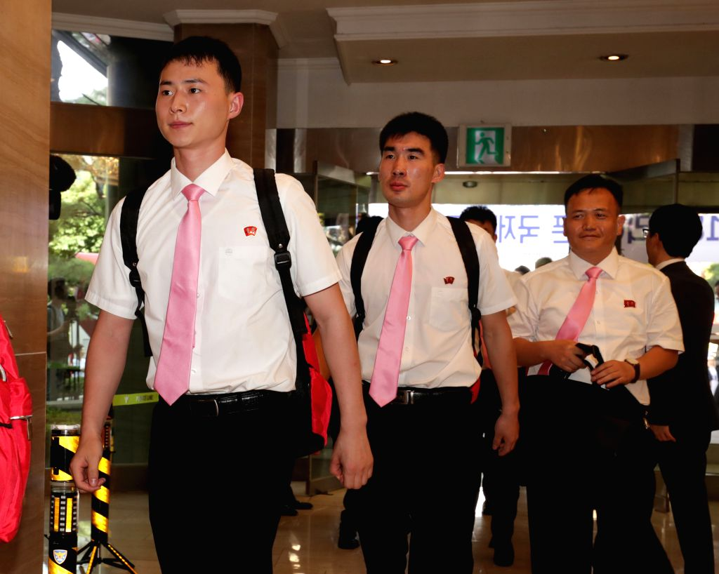 DAEJEON, July 15, 2018 - Table tennis team of the Democratic People's Republic of Korea (DPRK) arrive at Yousung hotel in Daejeon, South Korea, south of Seoul on July 15, 2018. (Xinhua/Lee ...