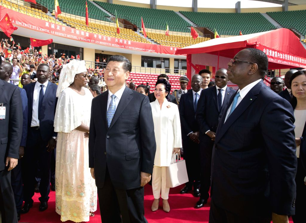 DAKAR, July 22, 2018 - Chinese President Xi Jinping and his Senegalese counterpart Macky Sall attend a handover ceremony of the National Wrestling Arena built with Chinese aid in Dakar, Senegal, July ...